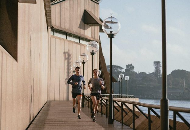 A man and woman jogging